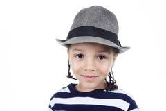 Λίγο αγόρι αφροαμερικάνων, που απομονώνεται στο λευκό Στοκ Εικόνες