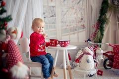 Λίγο αγόρι μικρών παιδιών, τσάι κατανάλωσης και κατανάλωση των μπισκότων με το παιχνίδι βελούδου μια χιονώδη ημέρα στοκ εικόνα με δικαίωμα ελεύθερης χρήσης
