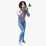 Λίγο ασιατικό κορίτσι που φυσά στην πεταλούδα απεικόνιση αποθεμάτων