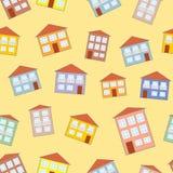 Λίγο αστείο άνευ ραφής σχέδιο σπιτιών Στοκ Εικόνα