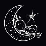 Λίγο γοητευτικός άγγελος κοιμισμένος στο φεγγάρι δίπλα να λάμψει sta διανυσματική απεικόνιση