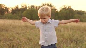Λίγο εύθυμα παιχνίδια αγοριών στον τομέα στο ηλιοβασίλεμα απόθεμα βίντεο