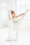 Λίγο κορίτσι ballerina σε ένα tutu Λατρευτό κλασσικό μπαλέτο χορού παιδιών σε ένα άσπρο στούντιο στοκ φωτογραφίες