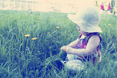 Λίγο κοριτσάκι με το λουλούδι πικραλίδων Στοκ φωτογραφία με δικαίωμα ελεύθερης χρήσης