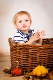 Λίγο μικρό παιδί που παίζει με τα φύλλα και τις κολοκύθες Στοκ Φωτογραφίες