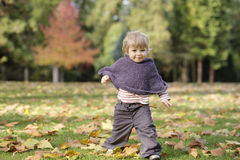 Λίγο μικρό παιδί σε ένα πάρκο φθινοπώρου Στοκ εικόνες με δικαίωμα ελεύθερης χρήσης