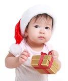 Λίγο μωρό γιορτάζει τα Χριστούγεννα Διακοπές του νέου έτους Στοκ Εικόνες