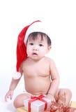 Λίγο μωρό γιορτάζει τα Χριστούγεννα Νέες διακοπές έτους ` s Στοκ Φωτογραφία