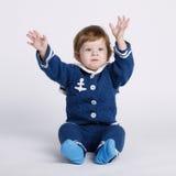 Λίγο μωρό ναυτικών στο άσπρο υπόβαθρο Στοκ εικόνες με δικαίωμα ελεύθερης χρήσης