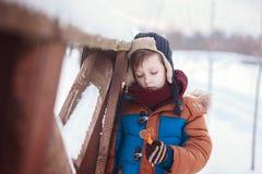 Λίγο μωρό που παίζει και που τρώει γλυκό cockerel στη χειμερινή ημέρα Παιχνίδι παιδιών στο χιονώδες δάσος στοκ φωτογραφία με δικαίωμα ελεύθερης χρήσης