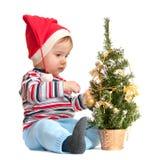 λίγο νέο έτος δέντρων santa Στοκ Εικόνες