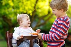 Λίγο ξανθό αγόρι παιδιών που δίνει ένα καρότο στην αδελφή μωρών Ευτυχείς αμφιθαλείς που έχουν το υγιές πρόχειρο φαγητό Συνεδρίαση Στοκ εικόνες με δικαίωμα ελεύθερης χρήσης