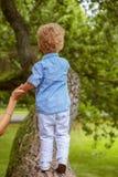 Λίγο ξανθό παιδί από την πλάτη Στοκ εικόνα με δικαίωμα ελεύθερης χρήσης