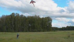 Λίγο παιδί που πετά το ζωηρόχρωμο ικτίνο στα ξύλα απόθεμα βίντεο