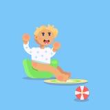 Λίγο παιδί, todler, συνεδρίαση χαρακτήρα μωρών στο champerpot α Στοκ φωτογραφία με δικαίωμα ελεύθερης χρήσης