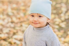Λίγο πουλόβερ μωρών το φθινόπωρο στοκ εικόνα