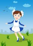 Λίγο σχολικό κορίτσι που μαθαίνει να χορεύει Στοκ Εικόνες