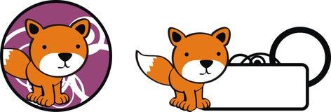 Λίγο σύνολο αυτοκόλλητων ετικεττών κινούμενων σχεδίων kawaii αλεπούδων μωρών ελεύθερη απεικόνιση δικαιώματος
