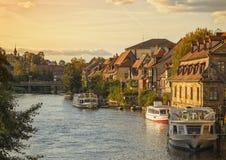Λίγο τέταρτο της Βενετίας στην ακτή του ποταμού Regnitz στη Βαμβέργη στοκ φωτογραφία με δικαίωμα ελεύθερης χρήσης