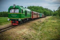 Λίγο τραίνο στη θερινή φύση Στοκ φωτογραφία με δικαίωμα ελεύθερης χρήσης
