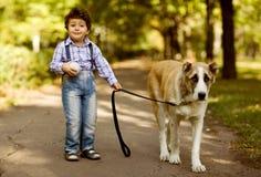 Λίγο χαριτωμένο αγόρι που παίζει με το σκυλί του Στοκ φωτογραφία με δικαίωμα ελεύθερης χρήσης