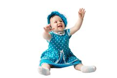 Λίγο χαριτωμένο κορίτσι παιδιών με τα μπλε μάτια που απομονώνονται στο άσπρο υπόβαθρο Στοκ Φωτογραφία
