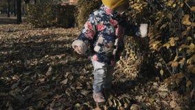 Λίγο χαριτωμένο κορίτσι που παίζει με τα φύλλα στο πάρκο φθινοπώρου απόθεμα βίντεο