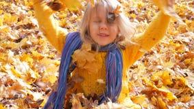 Λίγο χαριτωμένο κορίτσι που ρίχνει επάνω στα φύλλα στο πάρκο το φθινόπωρο απόθεμα βίντεο