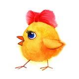 Λίγο χαριτωμένο κοτόπουλο με το κόκκινο τόξο Χρωματισμένη χέρι απεικόνιση Watercolor Στοκ Φωτογραφία