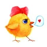 Λίγο χαριτωμένο κοτόπουλο με το κόκκινο τόξο Χρωματισμένη χέρι απεικόνιση Watercolor Στοκ εικόνες με δικαίωμα ελεύθερης χρήσης