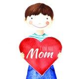 Λίγο χαριτωμένο χαμογελώντας αγόρι που κρατά μια μεγάλη κόκκινη καρδιά στα χέρια του Σ' αγαπώ μητέρα Απομονωμένο σχέδιο watercolo Στοκ Εικόνες