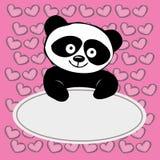 Λίγο χαριτωμένο panda με τις καρδιές, Στοκ Εικόνα