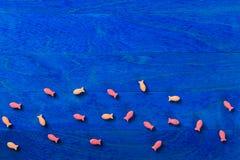 Λίγο ψάρι καραμελών στο μπλε υπόβαθρο Στοκ Φωτογραφίες