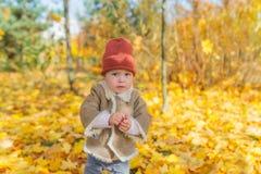 Λίγο όμορφο κορίτσι στα θερμά ενδύματα στέκεται μεταξύ του φυλλώματος φθινοπώρου στο δάσος Στοκ φωτογραφία με δικαίωμα ελεύθερης χρήσης