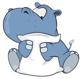 Λίγο hippopotamus cartoon απεικόνιση αποθεμάτων