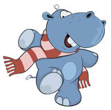 Λίγο hippopotamus cartoon διανυσματική απεικόνιση
