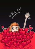 Λίγο redhead κορίτσι που πνίγει σε μια θάλασσα των καρδιών Στοκ Εικόνες