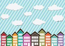 Λίγων πόλεων Townhouses και σπιτιών σχέδιο διανυσματική απεικόνιση