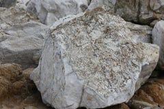 Λίθοι και βράχοι στις ακτές του βράχου πουλιών, παραλία χαλικιών, Drive 17 μιλι'ου, Καλιφόρνια, ΗΠΑ Στοκ Εικόνα
