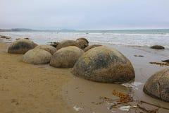 Λίθοι Moeraki στην παραλία Koekohe στην ακτή Otago κύμα-περικοπών της Νέας Ζηλανδίας στοκ φωτογραφία με δικαίωμα ελεύθερης χρήσης
