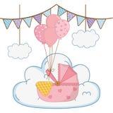 Λίκνο με τα μπαλόνια ελεύθερη απεικόνιση δικαιώματος