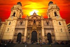 Λίμα Περού Άποψη της εκκλησίας καθεδρικών ναών στοκ εικόνες με δικαίωμα ελεύθερης χρήσης