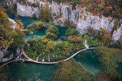 Λίμνες του εθνικού πάρκου λιμνών Plitvice στην Κροατία Στοκ Φωτογραφία