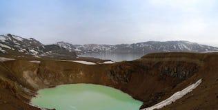 Λίμνες Oskjuvatn και Viti στον κρατήρα Ισλανδία Askja στοκ φωτογραφίες