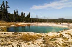 Λίμνη αβύσσων στη Geyser δυτικών αντίχειρων λεκάνη, το δάσος και τον ουρανό ως εθνικό πάρκο Yellowstone υποβάθρου, αντανακλάσεις, στοκ φωτογραφία