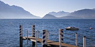 λίμνη αποβαθρών como βαρκών Στοκ φωτογραφία με δικαίωμα ελεύθερης χρήσης