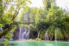 Λίμνη βουνών με τον καταρράκτη που περιβάλλεται από το δάσος στο εθνικό πάρκο λιμνών Plitvice, Κροατία Στοκ Εικόνες