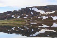 Λίμνη βουνών με το λειώνοντας χιόνι Στοκ εικόνα με δικαίωμα ελεύθερης χρήσης