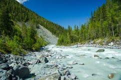Λίμνη βουνών, Ρωσία, Δημοκρατία Altai Στοκ Φωτογραφίες
