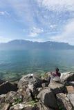 Λίμνη Γενεύη που βλέπει από Vevey Στοκ εικόνες με δικαίωμα ελεύθερης χρήσης